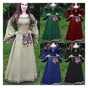 women's medieval dress cosplay costume renaissance victorian long sleeve asymmetric hem fancy maxi dress (blue, xxl)