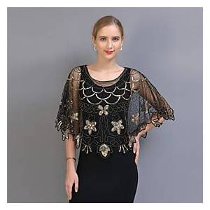The Great Gatsby 1920s Vintage The Great Gatsby Party Costume Masquerade Women's Sequins Tulle Sequin Costume Black / Red / BlackGolden / BlackSliver Vintage C
