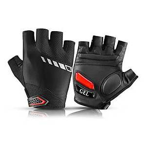 ROCKBROS Bike Gloves / Cycling Gloves Mountain Bike Gloves Mountain Bike MTB Road Bike Cycling Reflective Adjustable Breathable Padded Fingerless Gloves Half F