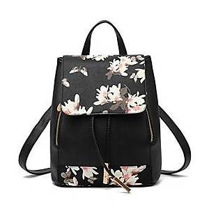 shoulder bag large capacity travel bag backpack purse for women(m, black-flower)