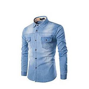 Men's Shirt Solid Colored Long Sleeve Daily Tops Black Blue Light Blue