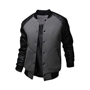 Men's Baseball Jackets Patchwork Active Fall Bomber Jacket Regular Daily Long Sleeve Cotton Coat Tops White