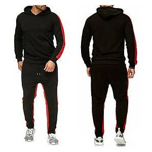 Men's Activewear Set Solid Colored Sports  Outdoors Basic Hoodies Sweatshirts  White Black Red