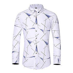 Men's Shirt Graphic Plus Size Print Long Sleeve Daily Tops Basic White Navy Blue Gray