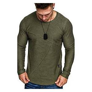 Men's T shirt non-printing Solid Colored Long Sleeve Daily Tops White Black Green