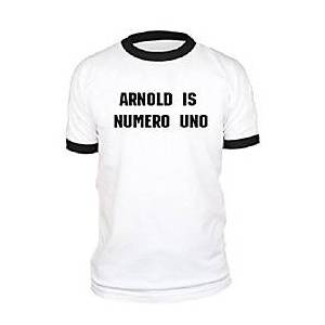 arnold is numero uno - weightlifting champ -  black ringer tee, xl