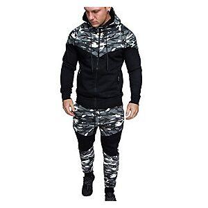 men's tracksuit set zip up hoodie camouflage sweatshirtjogger sweatpants activewear fall winter warm sports suit (camo-green, medium)