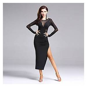 Latin Dance Dress Split Front Women's Performance Long Sleeve Natural Spandex Polyester
