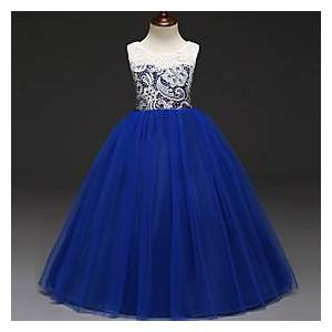 Princess Kids Girls' Sweet Princess Party Color Block Lace Sleeveless Smocked Dress Blushing Pink 7-8 Years(140cm)