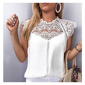 Women's Blouse Shirt Solid Colored Lace Round Neck Tops Basic Top White Black
