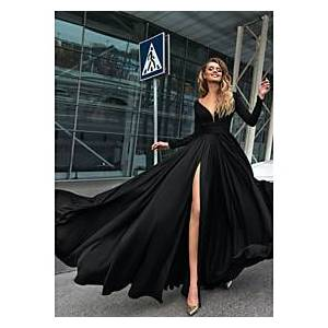 A-Line Empire Minimalist Holiday Formal Evening Dress V Neck Long Sleeve Floor Length Chiffon with Split Front 2021