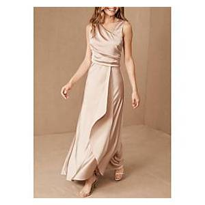 Sheath / Column V Neck Floor Length Satin Bridesmaid Dress with Ruching