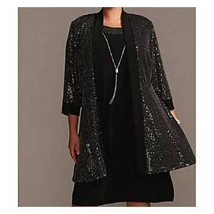 3/4 Length Sleeve Coats / Jackets Sequined Wedding Women's Wrap With Paillette
