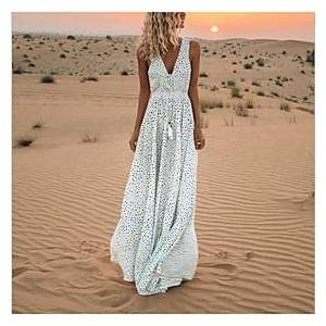 Women's Swing Dress Maxi long Dress White Blue Blushing Pink Beige Sleeveless Polka Dot V Neck Hot S M L XL XXL 3XL