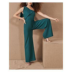 Jumpsuits Elegant Party Wear Prom Dress One Shoulder Sleeveless Floor Length Spandex with Sleek 2021