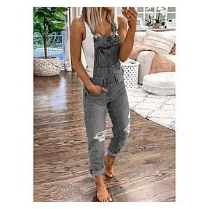 Women's Basic Black Blue Jumpsuit Solid Colored