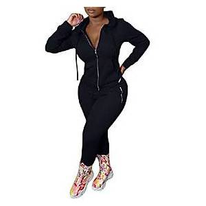 womens casual 2 piece jumpsuit full zipper hoodie jacket tight pants plus size sets sweatsuits jogger black xxl