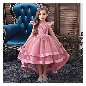 Kids Little Girls' Dress Solid Colored Layered Dress Beaded Embroidered Blushing Pink Wine Khaki Asymmetrical Short Sleeve Active Sweet Dresses New Year Slim