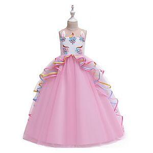 Kids Little Girls' Dress Color Block Blue Purple Blushing Pink Midi Sleeveless Dresses