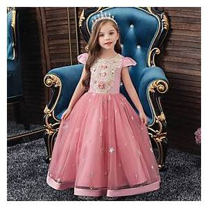 Kids Little Girls' Dress Floral Solid Colored Embroidered Purple Red Yellow Midi Short Sleeve Active Sweet Dresses New Year Slim