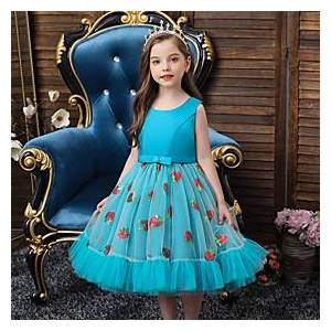 Kids Little Girls' Dress Solid Colored Fruit Bow Blue Red Blushing Pink Midi Sleeveless Active Cute Dresses Regular Fit