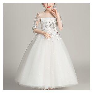 Kids Little Girls' Dress Floral Mesh White Blue Blushing Pink Maxi Half Sleeve Active Cute Dresses Children's Day Regular Fit