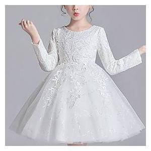 Kids Little Girls' Dress Floral Mesh Bow White Blue Red Above Knee Long Sleeve Active Cute Dresses Children's Day Regular Fit