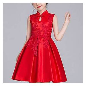 Kids Little Girls' Dress Solid Colored Mesh Red Above Knee Long Sleeve Active Cute Dresses Children's Day Regular Fit