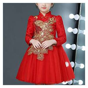 Kids Little Girls' Dress Floral Animal Embroidered Red Knee-length Long Sleeve Chinoiserie Cute Dresses Children's Day Regular Fit