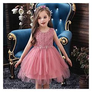 Kids Little Girls' Dress Solid Colored Mesh Patchwork White Purple Red Knee-length Sleeveless Basic Sweet Dresses Regular Fit