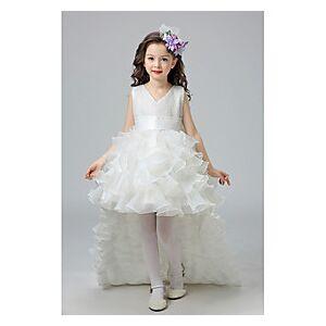 Kids Little Girls' Dress Floral Bow White Purple Red Knee-length Sleeveless Cute Sweet Dresses Children's Day Regular Fit