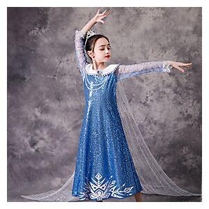 Kids Little Girls' Dress Solid Colored Sequins Blue Knee-length Long Sleeve Cute Dresses Regular Fit