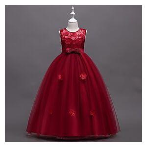 Kids Little Girls' Dress Jacquard Print Blue Red Blushing Pink Maxi Sleeveless Flower Cute Dresses Children's Day Slim