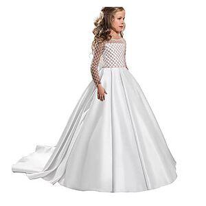 Kids Little Girls' Dress Solid Colored Flower Beaded Bean Paste Powder White Blue Asymmetrical Long Sleeve Sweet Dresses Regular Fit