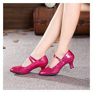 Women's Modern Shoes Salsa Shoes Heel Buckle Cuban Heel Black Red Blue Buckle