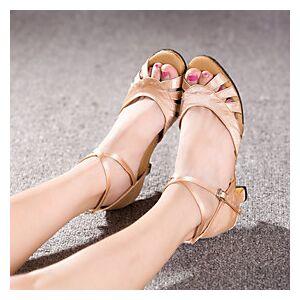 Women's Dance Shoes Latin Shoes Ballroom Shoes Salsa Shoes Line Dance Heel Buckle Cuban Heel Nude Red Purple Buckle / Indoor / Performance / Satin / Leather /