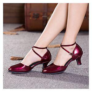 Women's Modern Shoes Ballroom Shoes Line Dance Heel Buckle Hollow-out Cuban Heel Burgundy Black Red Buckle