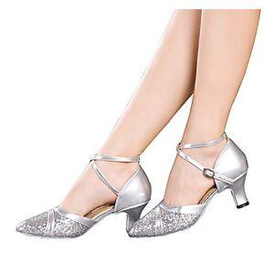 Women's Latin Shoes Ballroom Shoes Sandal Heel Sparkling Glitter Buckle Cuban Heel Black Red Silver Buckle