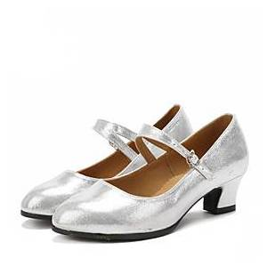 Women's Latin Shoes Ballroom Shoes Salsa Shoes Line Dance Sandal Heel Sparkling Glitter Buckle Cuban Heel Black Red Silver Buckle