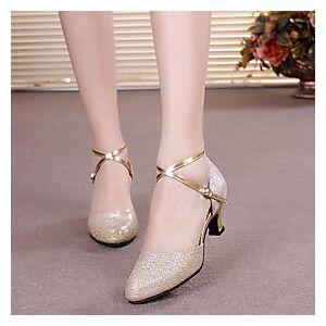 Women's Modern Shoes Ballroom Shoes Heel Buckle Paillette Cuban Heel Black Purple Gold Buckle