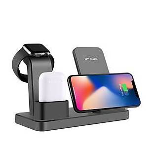 Wireless Charger 10W QI Multi-function 3 in 1 Quick Wireless Charger for Apple iPhone Watch Air Pods iPhone 12 11 11Pro Max Samsung S21 S20 S10 or Other Androi