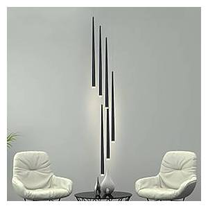 6-Light LED Pendant Light Cone Tube Nordic Black Bar Hanging Lamp Stair for Kitchen Island Bar Table Stairs Dinning Room Living Room Adjustable