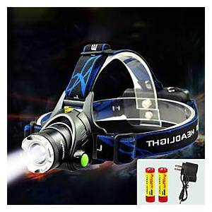 TD286 Headlamps Headlight Waterproof Zoomable 800 lm LED LED 1 Emitters with Batteries and Charger Waterproof Zoomable Rechargeable Adjustable Focus Camping /