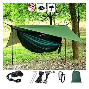Camping Hammock with Mosquito Net Hammock Rain Fly Outdoor Portable Sunscreen Anti-Mosquito Ultra Light (UL) Breathable Parachute Nylon with Carabiners and Tre