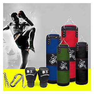 Punching Bag Heavy Bag Kit With Hanger Boxing Gloves Removable Chain Strap Punching Bag for Taekwondo Boxing Karate Martial Arts Muay Thai Adjustable Durable E