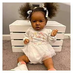 22 inch Reborn Doll Baby  Toddler Toy Baby Girl African Doll Reborn Baby Doll Black Doll Saskia lifelike Hand Made Simulation Hand Applied Eyelashes Floppy Hea