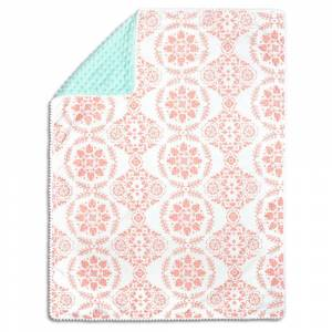 The Peanut Shell The Peanutshell Pompom Blanket - Medallion Medley - Coral/Mint, Green Pink
