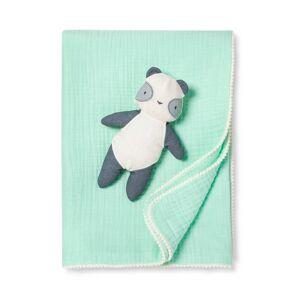 Cloud Island Gauze Baby Blanket & Plush Panda - Cloud Island Joyful Mint, Green