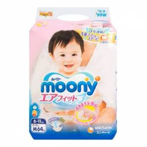 MOONY Baby Diaper Tape Type M Size 6-11kg 64pc