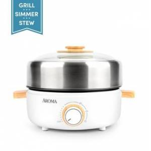 AROMA [NEW] Aroma Housewares AMC-130 Whatever Pot Indoor Grill Cooking Hot Pot with Glass Lid Bamboo Handles 2.5L